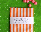 24 Orange Striped Candy or Treat Bags