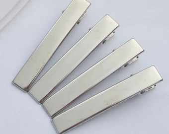 20PCS--60x9mm Silver plated flat metal hair alligator clip strong quality