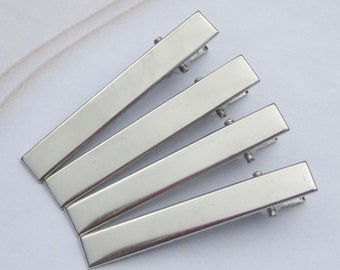 50PCS--56x8mm Silver plated flat hair clips, metal hair alligator clip