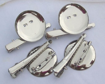 20pcs--29mm Silver plated Brooch Back Base With Clip and Safety Pin
