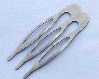 100pcs 3teeth Silver Gray Metal Hair Combs (15x40mm)