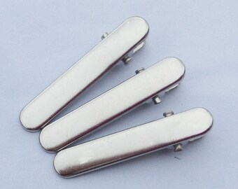50PCS--35mm Silver plated metal hair alligator clip