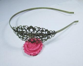 Filigree Headband--4pc Adjustable Antique Bronze Filigree Floral HeadBand Setting