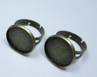 Antique bronze Rings--20pcs antique bronze Adjustable Brass Rings Base with 18mm Round Pad