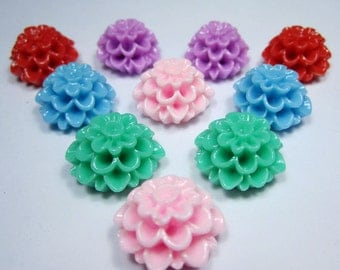 Flower Cabochons Resin chrysanthemum Flower,20pcs Mixed Color Resin Flowers Cameo Cabochon Base Setting Pendants