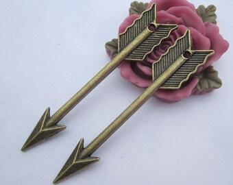 10pc--Antique Bronze Large Arrow Charm Pendants--11x62mm