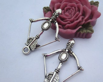 10pc Antique Silver Bow and Arrow Charm Pendants--24x35mm