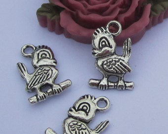 18pc antique silver birdie charm pendants--12.5x19mm