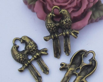 20pc antique bronze mini Love birds charm pendants--16x23mm
