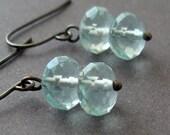 Aqua Glass Earrings - gunmetal earrings with aqua glass rondelles -  BUY 3 GET 1 FREE