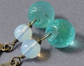 Opalite Earrings - antique brass earrings with blue green glass and opalite - BUY 3 GET 1 FREE