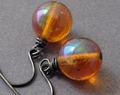 Amber Glass Earrings - gunmetal earrings with amber glass dangles - BUY 3 GET 1 FREE