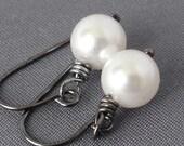 Swarovski Pearl Earrings - simple pearl earrings with gunmetal -  white pearl earrings - BUY 3 GET 1 FREE