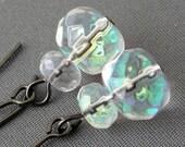 Clear Glass Earrings - gunmetal earrings with iridescent dangles - BUY 3 GET 1 FREE