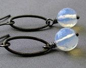 Opalite Earrings - gunmetal earrings with opalite dangles - BUY 3 GET 1 FREE