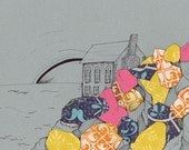 """Cliff House Drawing - """"Built In"""" - Pink, Yellow, Blue textured Ocean Cliff"""
