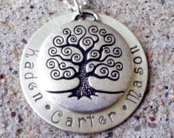 TREE OF LIFE Handstamped Necklace with names