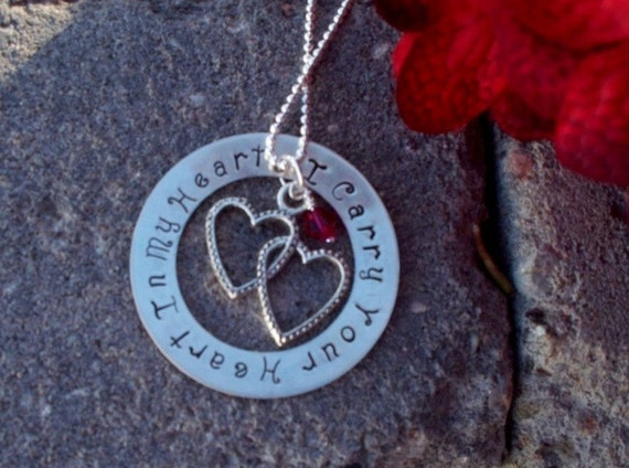 Memorial Necklace I CARRY YOUR HEART in My Heart Jewelry, Remembrance for Loss of Loved One, Husband, Parent, Child, Baby with Birthstone