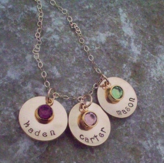 Mother's Birthstone Hand Stamped Necklace with names TRIPLE DROP in GOLD