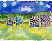 Grandmoms Quilts, limited edition print from original watercolor