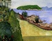 Bar Harbor Shore Path limited edition print from original watercolor