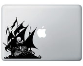 Pirate Ship with Skull and Crossbones - Macbook Laptop Vinyl Decal