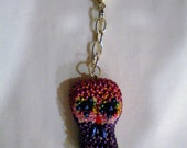 Skull Bead Day of the Dead Key Chain Charm FREE SHIPPING