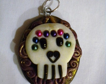 Skull Pendant, Day of the Dead, Halloween, Charm FREE SHIPPING