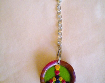 PEACE AN LOVE WITH SKULLS KEY CHAIN POLYMER CLAY FREE SHIPPING