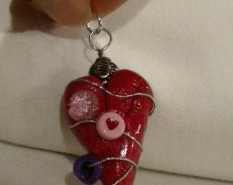 Love Heat Pendant Polymer Clay and beads FREE SHIPPING