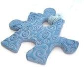 Autism Awareness Big Blue Puzzle Piece - Ornament - Clay Tag - Mixed Media Component