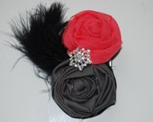 Gray & Coral rosette clip with feathers and rhinestone embellishment