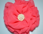 Coral ruffle chiffon hair clip for toddler, girl, teen and adult