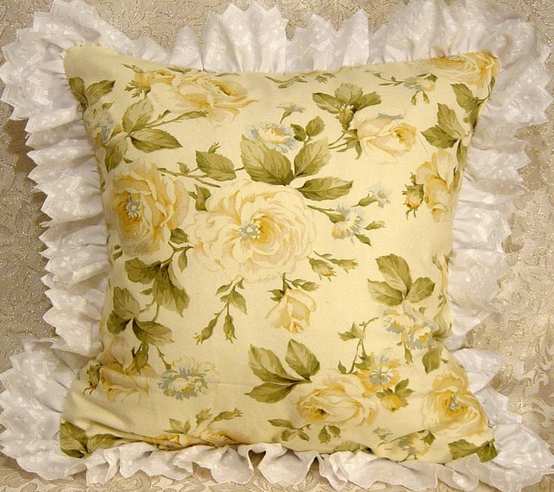 Shabby Chic Floral Throw Pillows : Ruffled Throw Pillow Shabby Yellow Roses Chic Romantic Floral