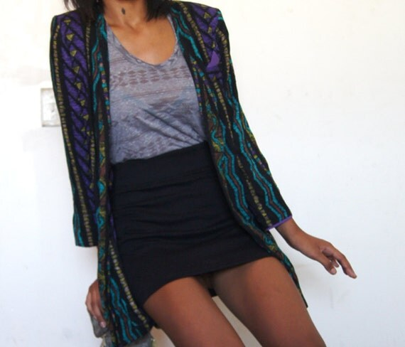 ZigZag print 80s Jacket Black with Purple pocket Triangle by Just in Thyme Ltd.