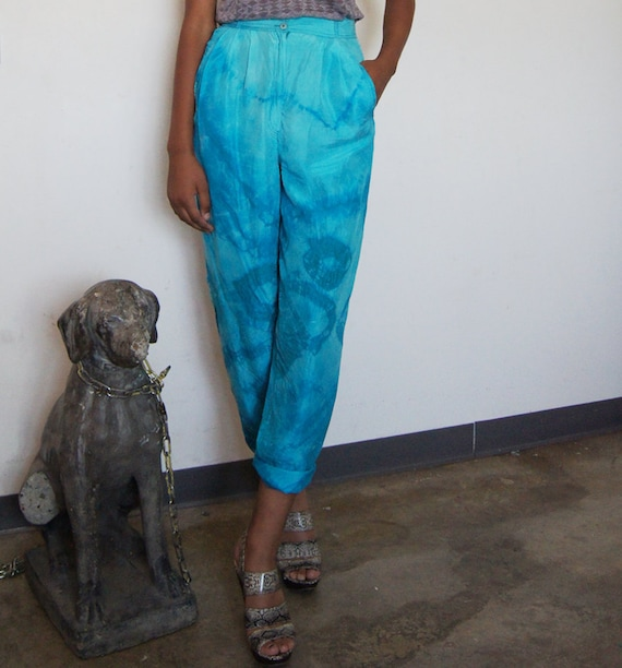 ADORBS Silk 80s trousers One of a Kind tie dyed by me