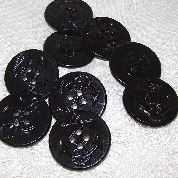 DISCOUNTED BUTTONS 9 Vintage Navy Pea coat Buttons with