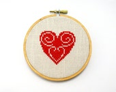 Red heart cross stitch in wooden hoop - h005