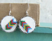 Hand embroidered earrings Geometrical arrows with surgical steel ear wires - e023