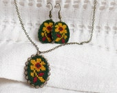 Cross stitch jewelry set - necklace and earrings with amber flower in bronze