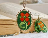 Cross stitch jewelry set - necklace and earrings with orange flower in bronze