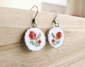 Embroidered floral earrings with surgical steel ear wires - e011