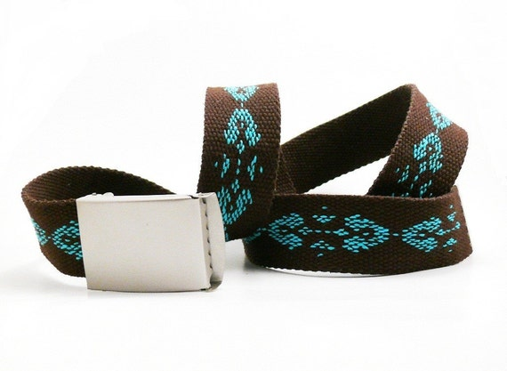 Hand embroidered belt turquoise on brown