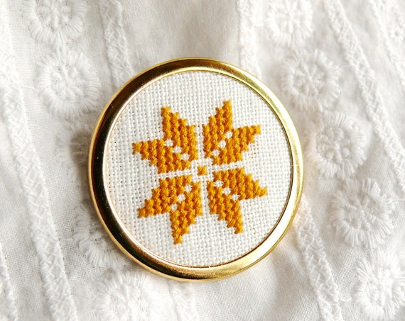 Hand embroidered brooch ethnic golden flower on white - fall fashion - b003
