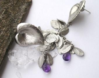 Dangle earrings 'Leaves with purple drop' OOAK
