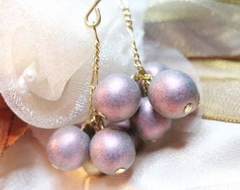 Earrings ooak with czech gold and purple beads 'Berries'