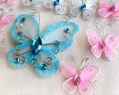 14 Butterfly appliques. Embellishments made of tulle, wire, and gem beads. Delicate and cute. Blue and Pink, different sizes