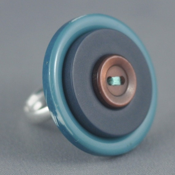 Aqua Upcycled Adjustable Button Ring