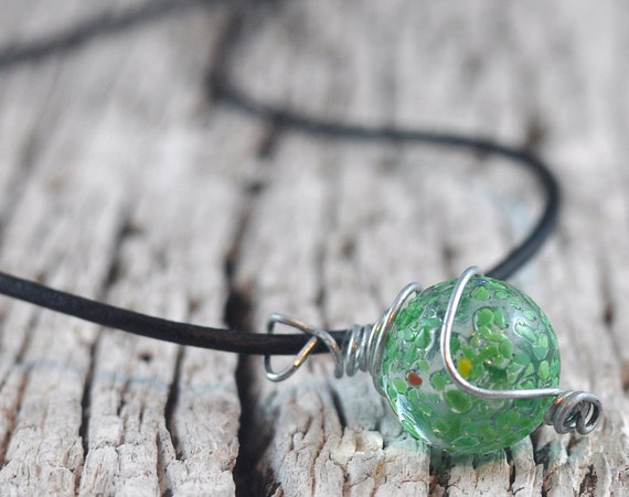 Green Marble Necklace Jewelry Wire Wrapped in Handmade Cage on Leather Thong in Handmade Felt Pouch.