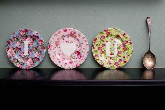 I love you set of vintage floral inspired plates